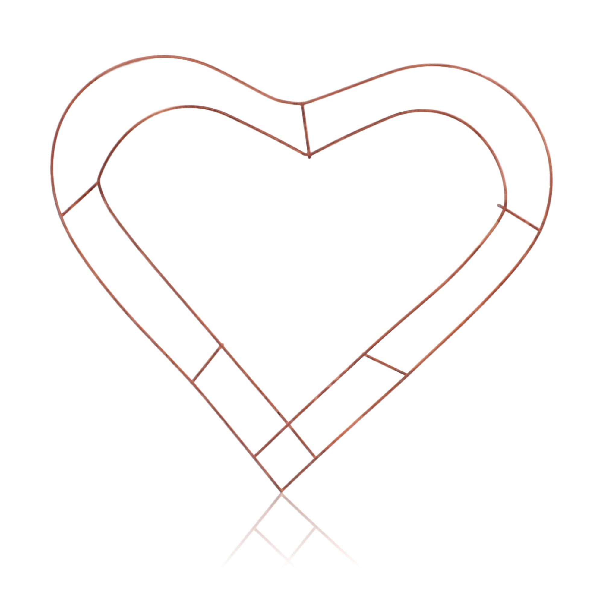 1x Wreath Heart Shaped Flat Wire Copper Frame 18\