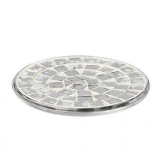 Round Mirrored Mosaic Glass Candle Plate