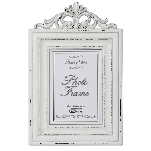 Large Rococo Wooden White Distressed Picture Frame