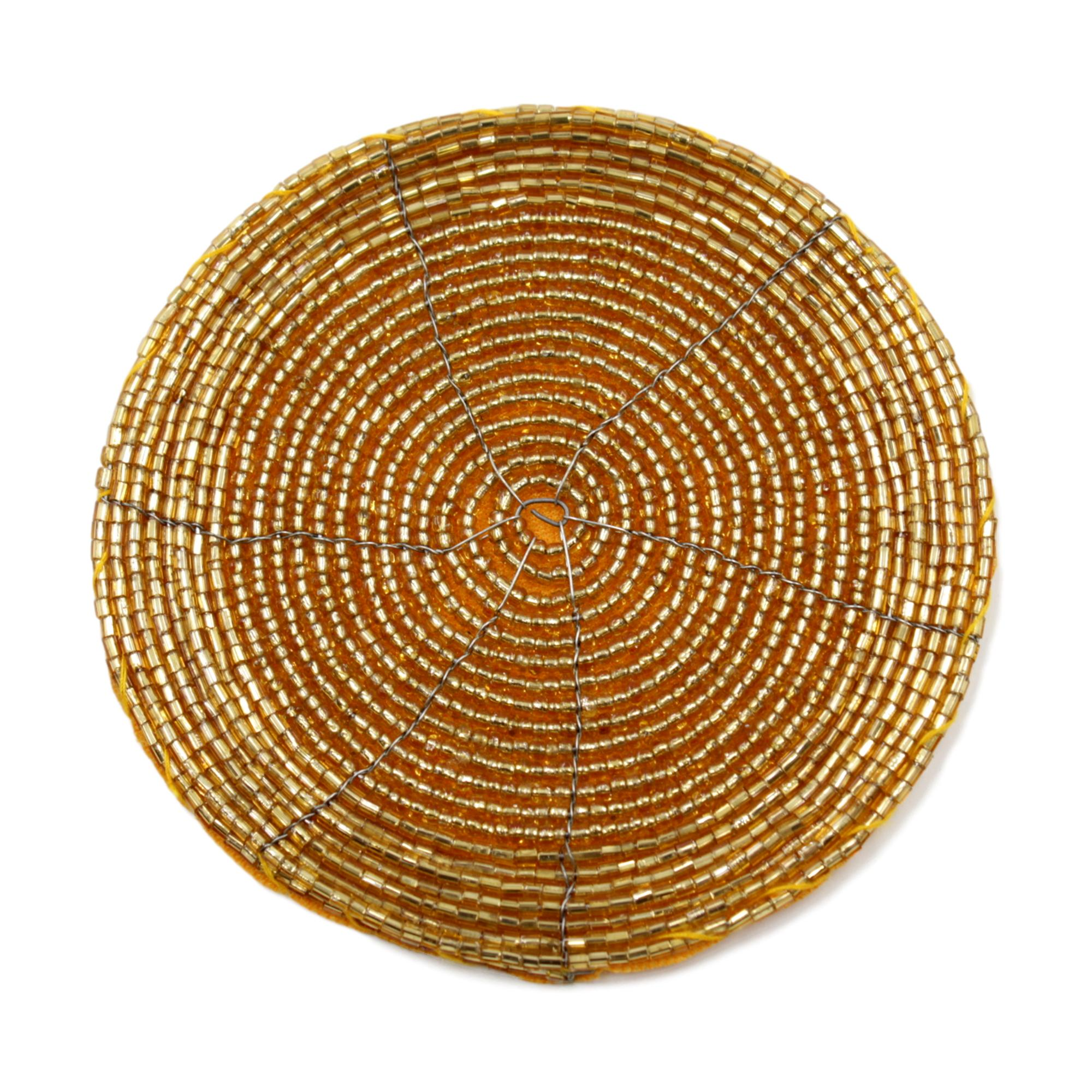 Round Glass Beaded Gold Coasters X4 Blendboutique