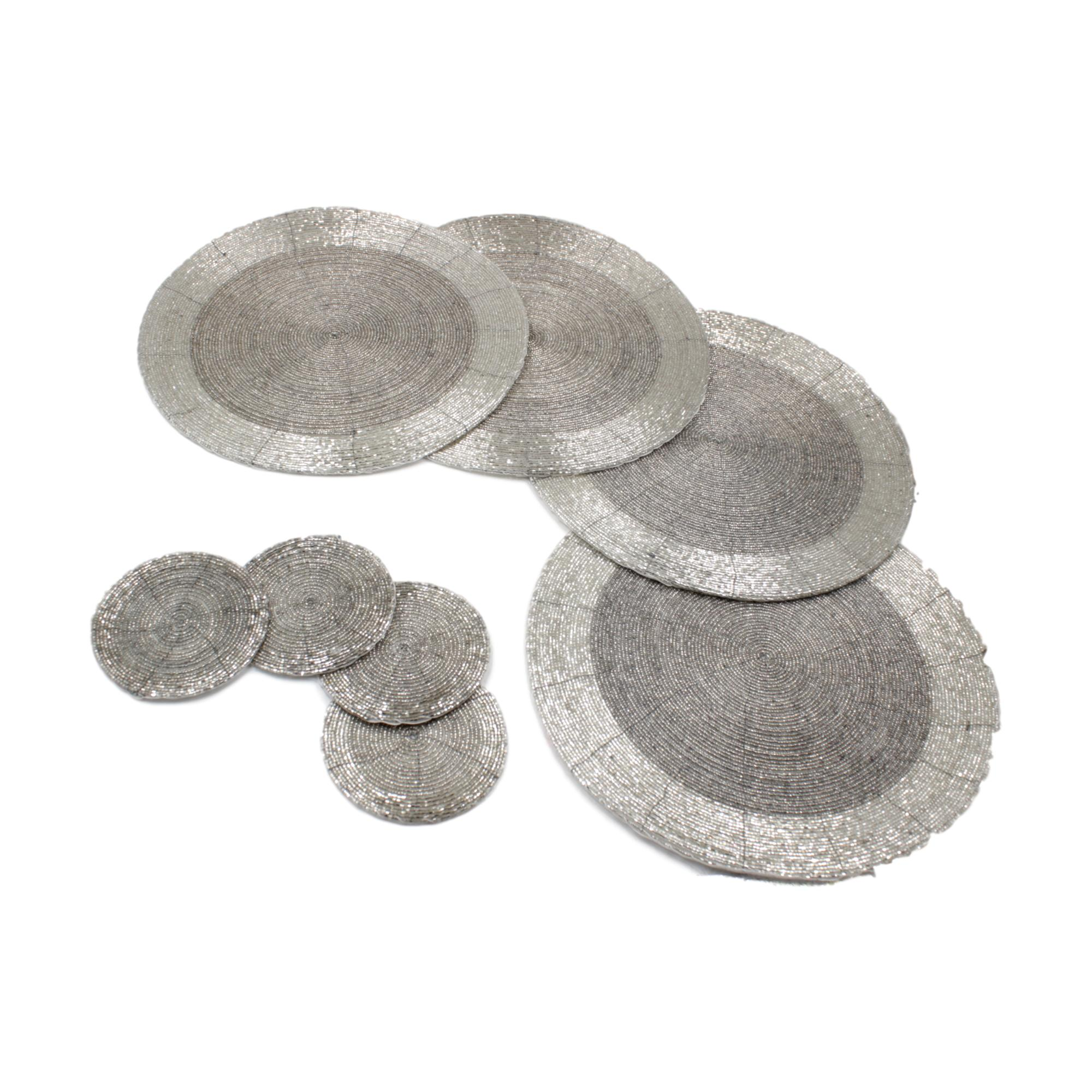 Set Of Round Glass Beaded Silver Placemats And Coasters