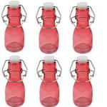 6x Mini Coloured Bottle With Swing Lid - Pink