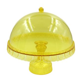 Ornate Domed Cake Stand Yellow