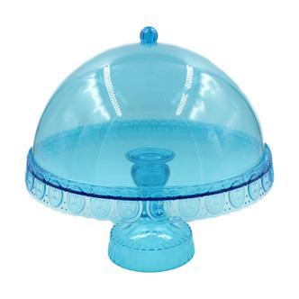 Ornate Domed Cake Stand Blue