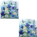 Blue Floral Design Seat Pad x2