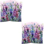 Purple Floral Design Seat Pad x2