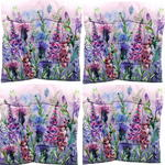 Purple Floral Design Seat Pad x4