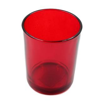 Red glass tea light holder
