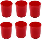 6x Red Glass Tea Light Holder