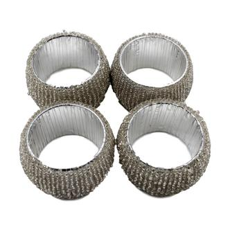 Silver Beaded Napkin rings