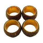 Round Glass Beaded Gold Napkin Rings x4