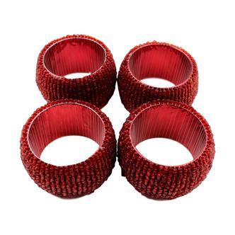 Red Beaded Napkin rings