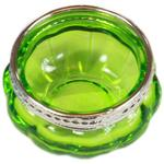 Green Moroccan Coloured Glass T-Light Holder w/ Silver Rim