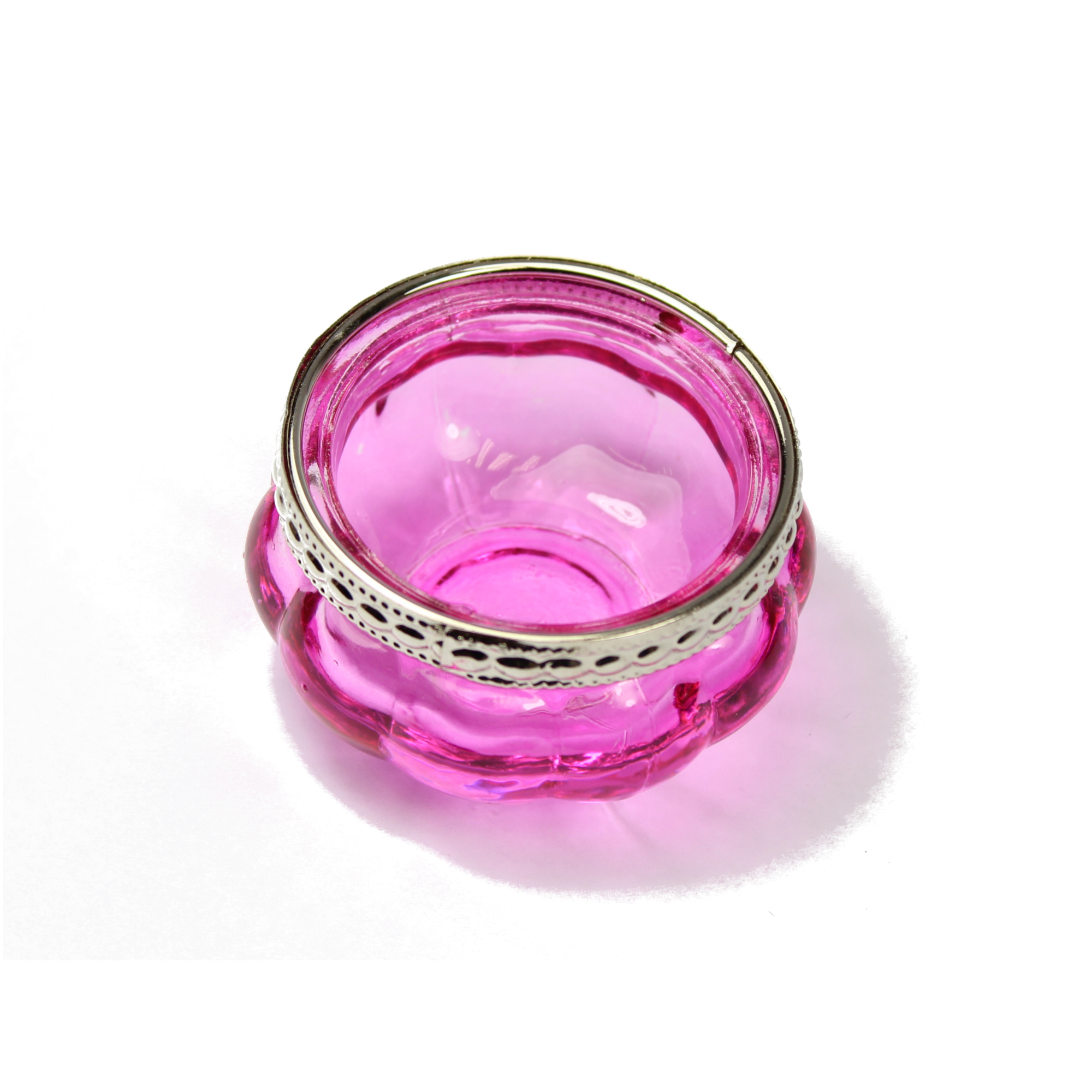 Pink Moroccan Coloured Glass T-Light Holder w/ Silver Rim
