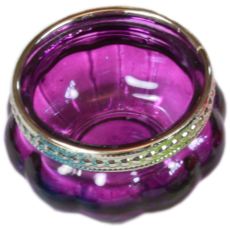 Purple Coloured Glass T-Light Holder w/ Silver Rim