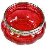 Red Moroccan Coloured Glass T-Light Holder w/ Silver Rim