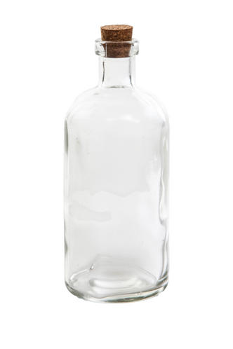 Small Clear Glass Message Bottle with Cork H14cm