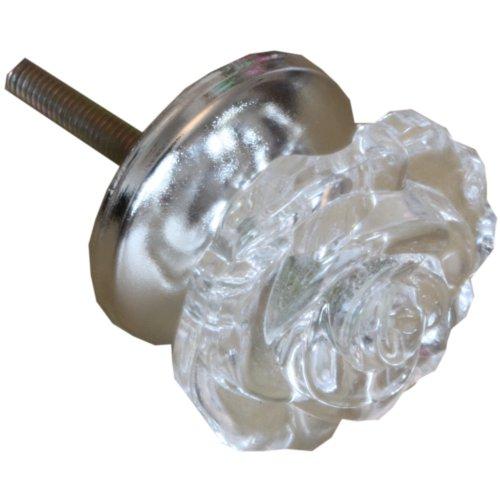 Acrylic Flower Design Drawer Knob Clear Dia 5cm