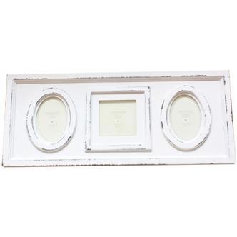 Aged White Wood Triple Window Photo Frame