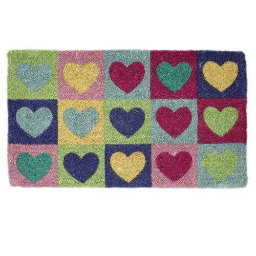 Multicoloured Hearts Doormat