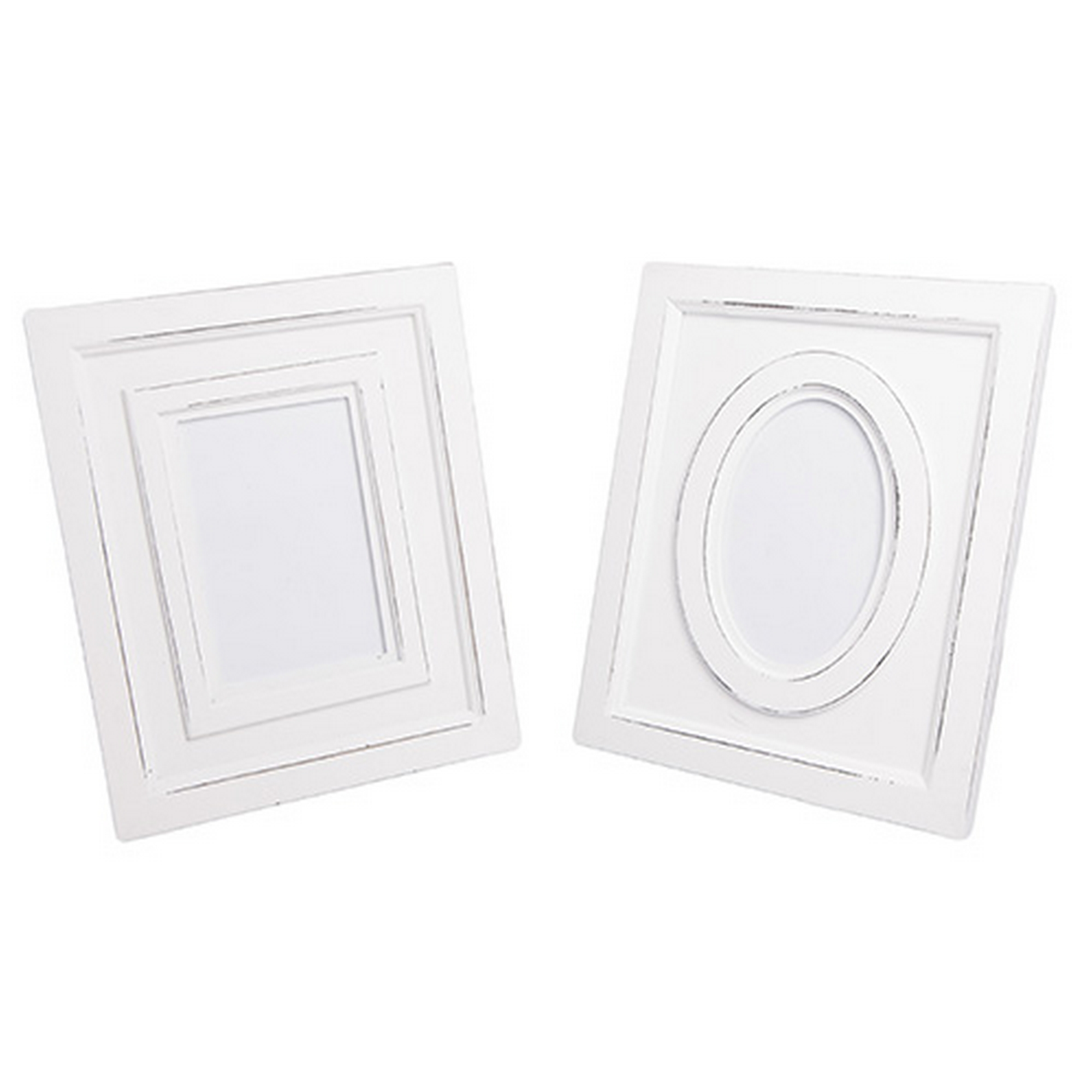 Set of (2x) New England White Wooden Distressed Photo Frame
