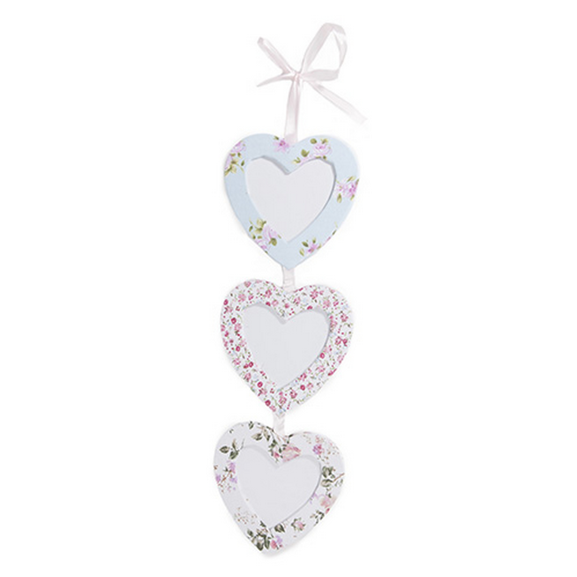 Heart Shaped 3 Tier English Vintage Floral Wall Hanging