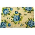 Blue English Rose Floral Design Doormat