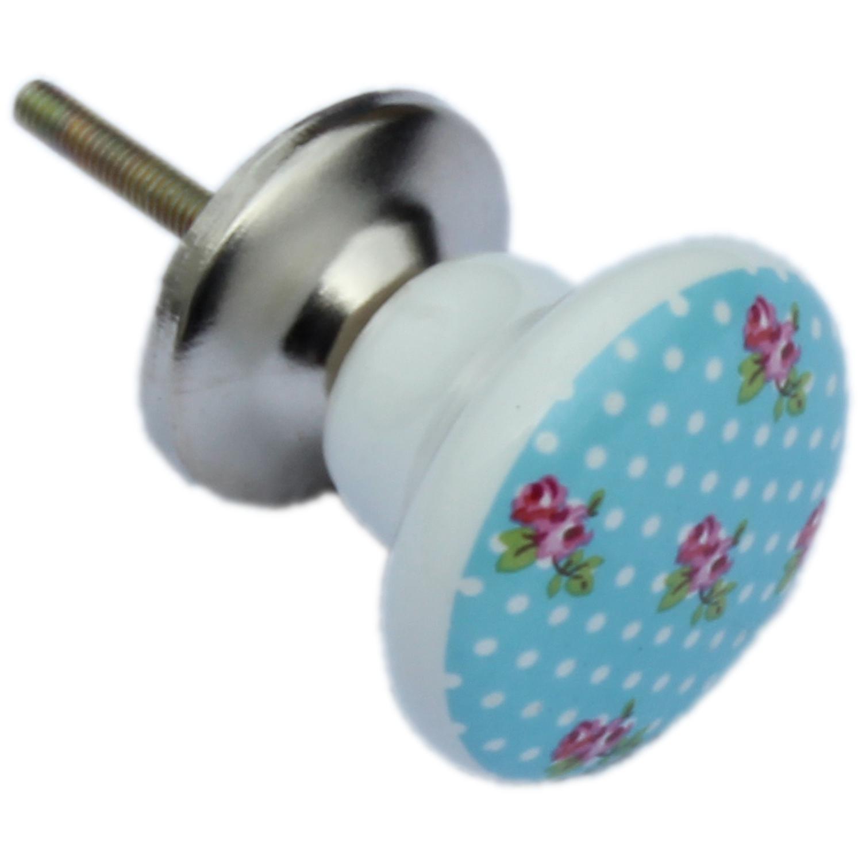 Blue Ceramic Shabby Vintage Chic English Rose Design Drawer Knobs