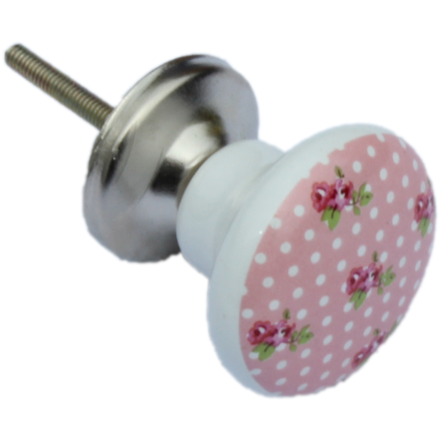 Pink Ceramic Shabby Vintage Chic English Rose Design Drawer Knobs