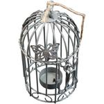 Butterfly Design Bird Cage T-light Holder with Twine Stone Grey