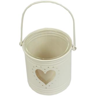 Cream Heart Design Shabby Vintage Chic Hanging T-light Holder