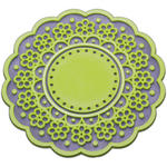 Green Vintage Kitsch Lace Cup Coaster