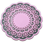 Pink Vintage Kitsch Lace Cup Coaster