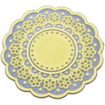 Yellow Vintage Kitsch Lace Cup Coaster