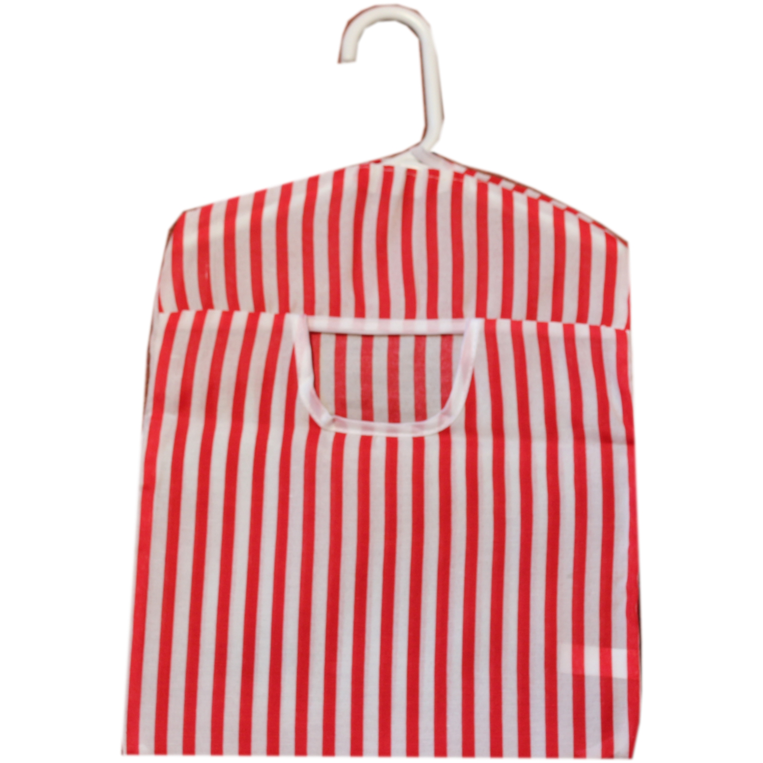 British Seaside Stripe Design Peg Bag - Red