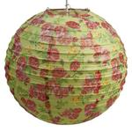"Red Rose on Lime Green Ribbed Paper Lightshade 40cm / 16"" Dia"