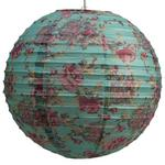 """Red Rose on Sea Green Ribbed Paper Lightshade 40cm / 16"""" Dia"""
