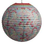 """Red Vintage Paisley Ribbed Paper Lightshade 40cm / 16"""" Dia"""