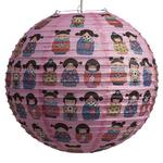 "Japanese Geisha on Pink Ribbed Paper Lightshade 40cm / 16"" Dia"