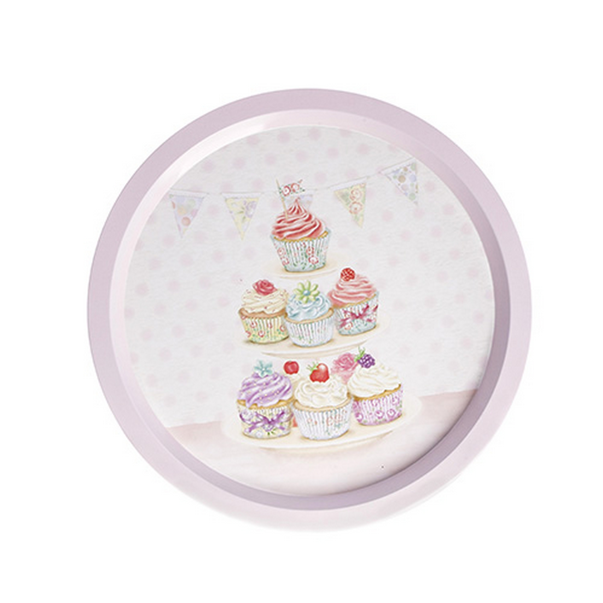 Round Fairy Cup Cake Design Tea and Drinks Tray