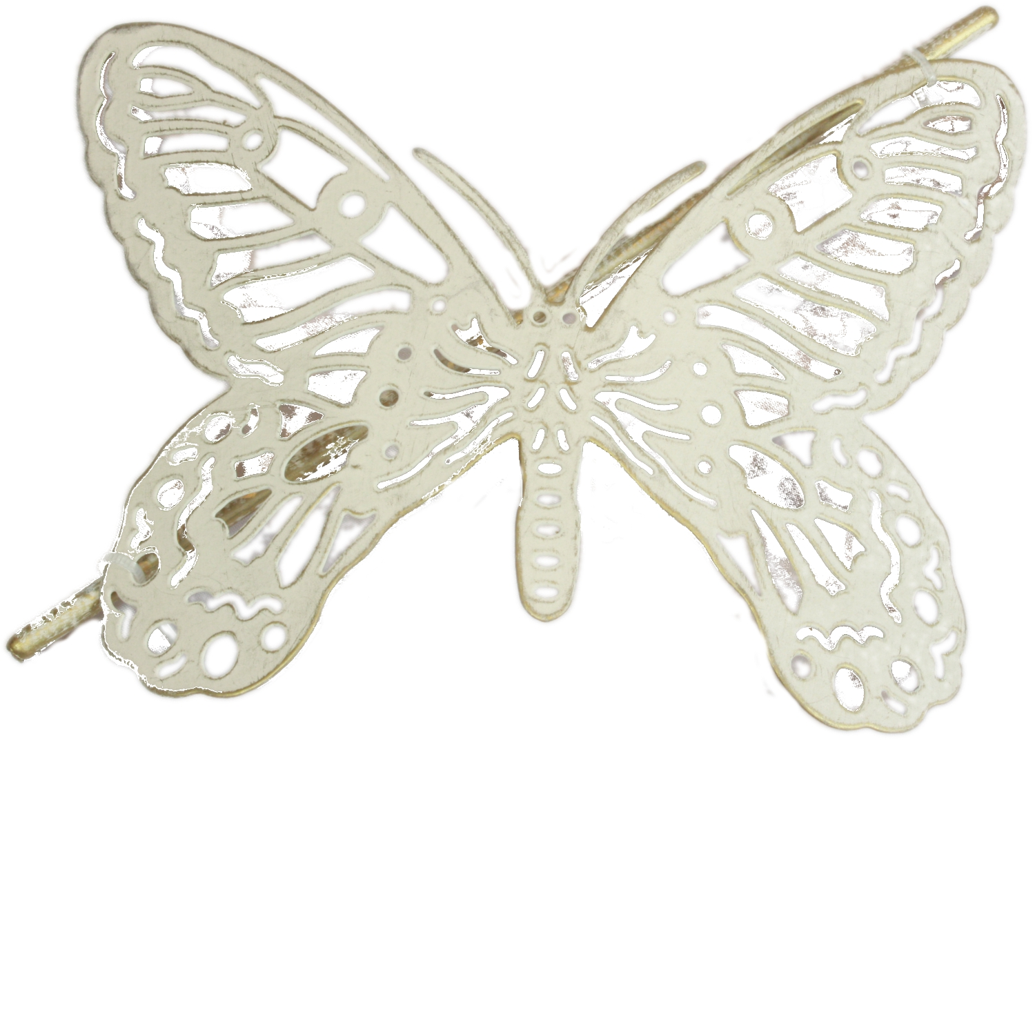 1x Brushed Gold Amp Cream Butterfly Design Metal Curtain Tie