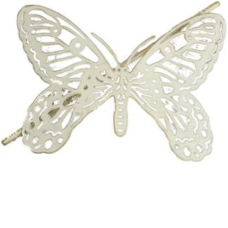 1x Brushed Gold & Cream Butterfly Design Metal Curtain Tie Back