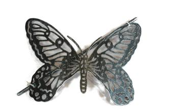 1x Brushed Silver & Black Butterfly Design Metal Curtain Tie Back