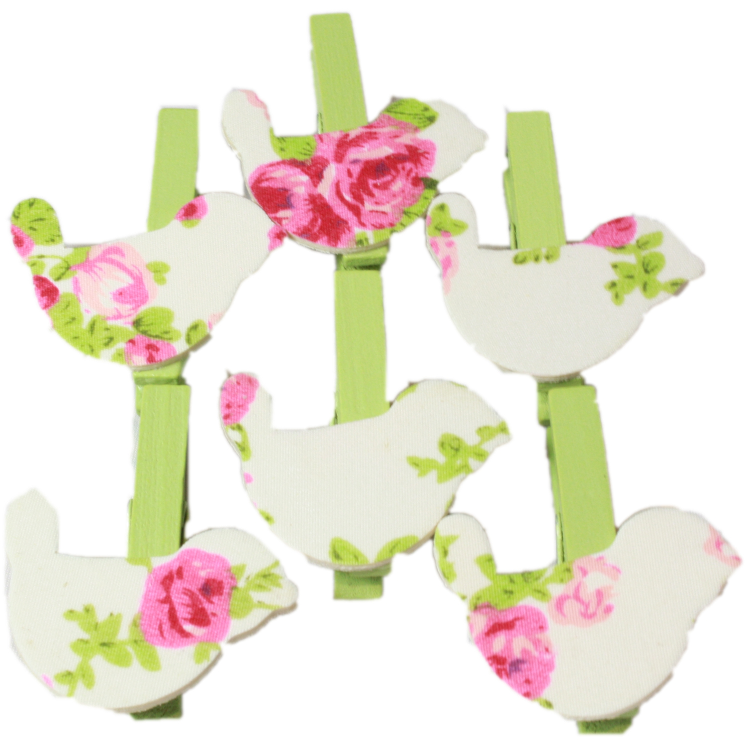 6x Mini Wooden Floral Craft Pegs & Card Pegs in Bird Design