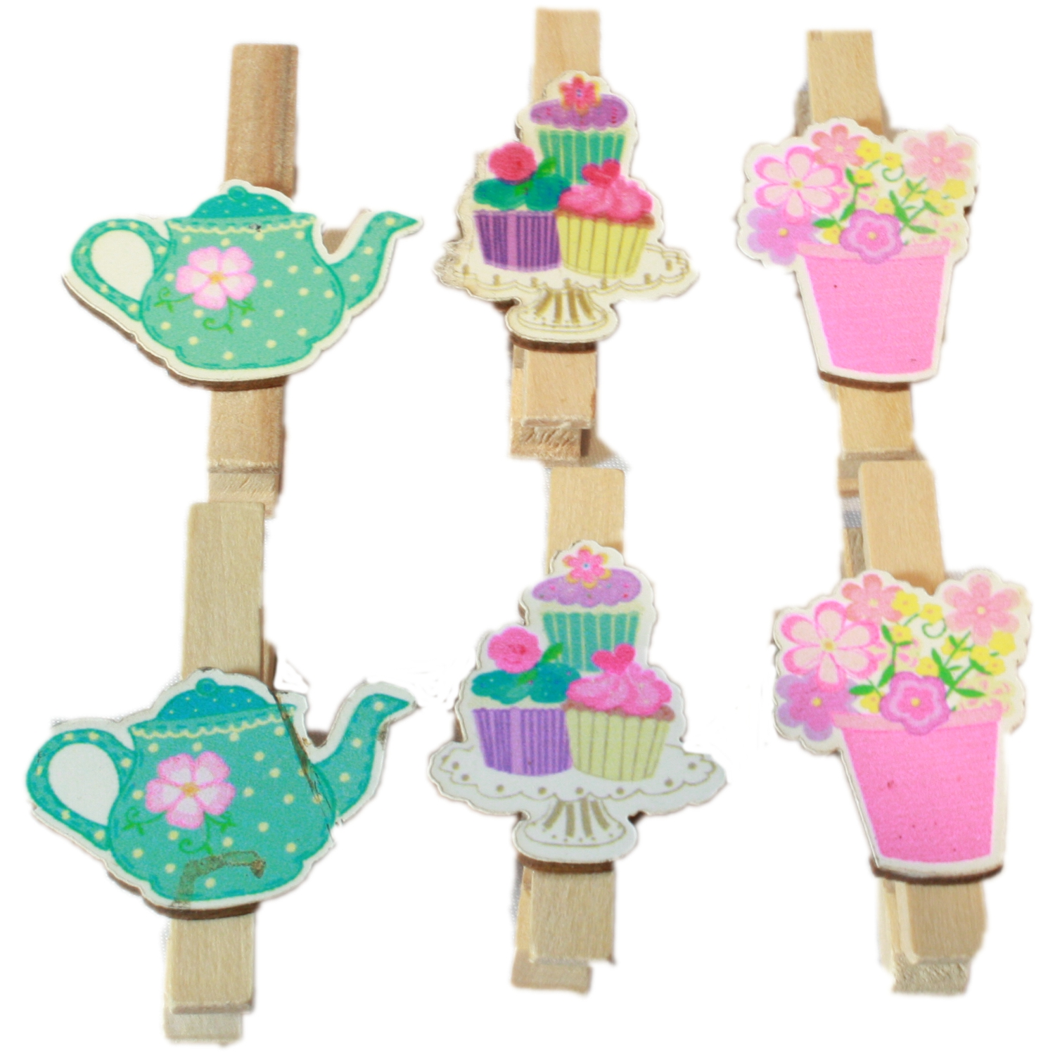 6x Mini Wooden Tea & Cake Party Craft Pegs & Card Pegs
