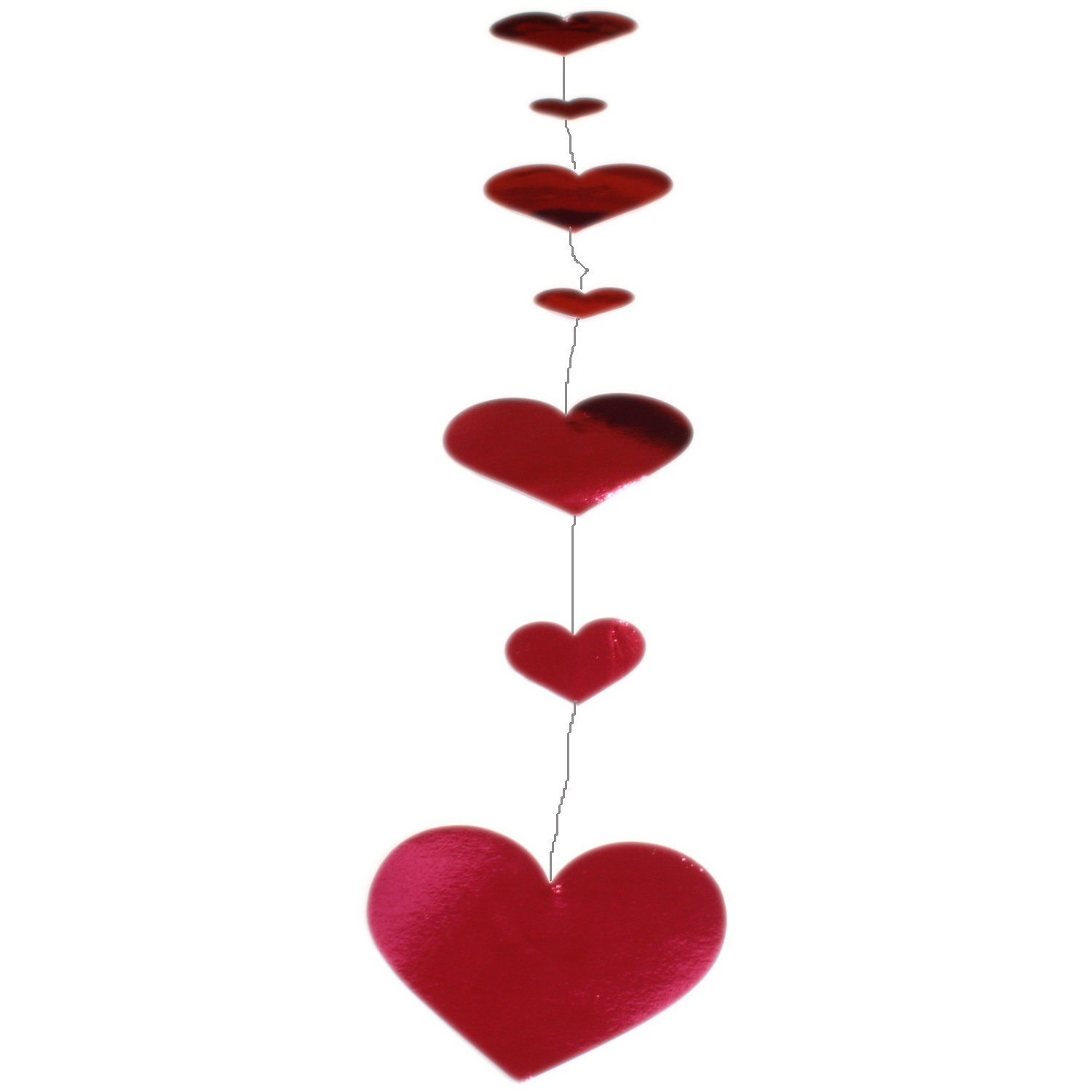 2x Foil Heart Shaped Party Vertical Hanging Garland