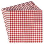 Set of Twenty Red Gingham Check Printed Party Paper Napkins