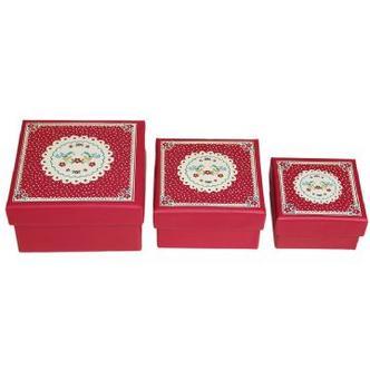 Red Doily Design Small Nesting Jewellery & Nik Nak Boxes