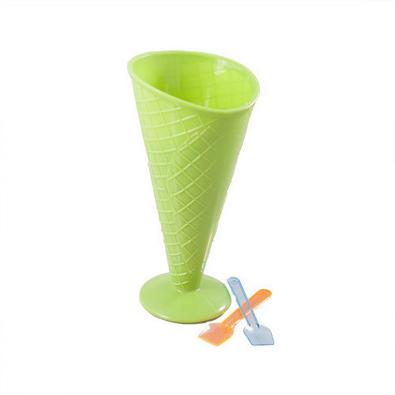Childrens Green Plastic Cone Ice Cream Sundae Bowl W 2x