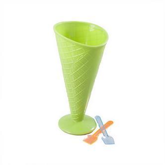 Childrens Green Plastic Cone Ice Cream Sundae Bowl w/ 2x Scoop Spoons